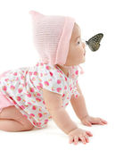 Butterfly on nose — Stock Photo