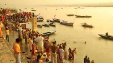 Ganges river Varanasi — Stock Video