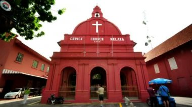 Tourist activity in front Christ Church Malacca — Stock Video