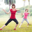 Asian practicing tai chi outdoor — Stock Photo