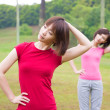 Asian girls workout outdoor — Stock Photo