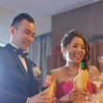 Wedding reception champagne toasting — Stock Photo