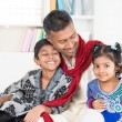 Indian father and children — Stock Photo