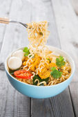 Fresh hot spicy curry instant noodles — Stock Photo