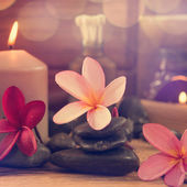 Spa setting with candle light — Stock Photo