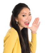 Asian woman shouting — Stock Photo