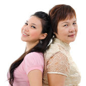 Mother and daughter back to back — Stock Photo