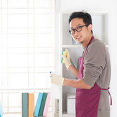 Asian man housekeeping — Stock Photo