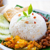 Spicy food nasi lemak — Stock Photo