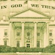 Stock Photo: In God We Trust and White House from dollar bill