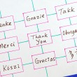 The words Thank You in different languages concepts of appreciation and thankfulness — ストック写真