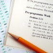 Stock Photo: Answer complicated mathematics question in exam or test
