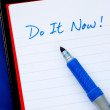 Do It Now concepts of to do list isolated on blue — Photo