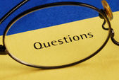 The word Questions concepts of inquiry and investigation — Stock Photo