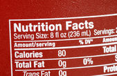 Focus on the nutrition facts concepts of eat healthy — Stock Photo