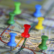 Color pins on a map concept of marketing strategy — Foto Stock