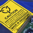 Electrostatic Warning Label and Computer Circuit board - Stock Photo
