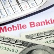 Mobile banking concept of online banking with smartphone — Foto de Stock