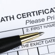 Death certificate — Stock Photo