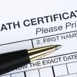 Stock Photo: Death certificate