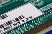 Computer parts with the label Made in China — Stock Photo