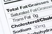 Nutrition label focused on Trans Fat content concept healthy eating — Stock Photo