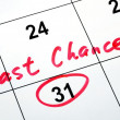 Circle the calendar concept of last chance and deadline — Stock Photo