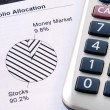 Portfolio allocation illustrates asset in pie chart — Stock Photo #19133599