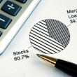 Portfolio allocation illustrates asset in pie chart — Stock Photo #19133603