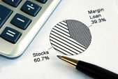 Portfolio allocation illustrates the asset in a pie chart — Stock Photo