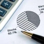 Portfolio allocation illustrates the asset in a pie chart — Stock Photo