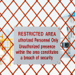 A security sign outside a restricted area — Stock Photo
