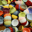A diverse collection of cups with various colors — Foto Stock