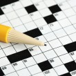 Fill the cross word puzzle concept of determinating the next move and strategy — 图库照片