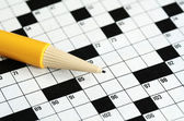 Fill the cross word puzzle concept of determinating the next move and strategy — Stock Photo