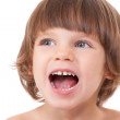 Studio portrait of a close-up of a girl with her mouth open with — Stock Photo