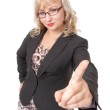 Strict business woman with glasses shaking his finger — Stock Photo #13437210