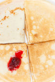 Pancakes with raspberry jam/ the breakfast of the house — Stock Photo