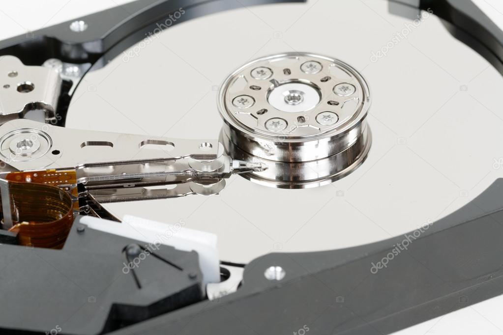 Opened hard disk drive. Internal hard disk structure. — Stock Photo #13437228