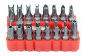 Set van hoofden voor schroevendraaier in rode vak — Stockfoto