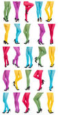 Collage of shapely female legs in colorful tights. — Stock Photo