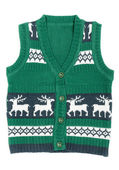 Knitted vest with a Christmas ornament (with deer) — Stock Photo