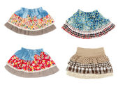 Collage of four miniskirt isolated on white background — Stock Photo
