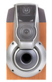 Wooden sound speaker on white background — Stock Photo