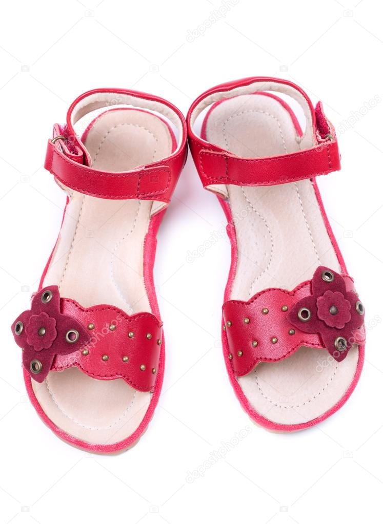 Pair of a little girl&#039;s red shoes. Isolate on white  Stock Photo #14713075