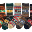 Five of wool socks with a pattern — Stock Photo
