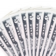 5 dollar bills fanned — Stock Photo