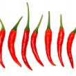 Seven Red hot chili pepper — Stock Photo