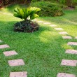 Stone path on green grass — Stock Photo