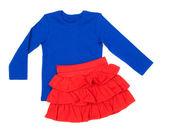 Czerwony spódnica i bluzka baby blue — Zdjęcie stockowe